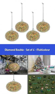 GISELA GRAHAM CHRISTMAS MULTICOLOURED GLITTER GLASS ACORN BAUBLE DECORATION X 6