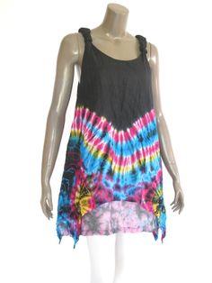 Black sleeveless women short tie dye Dress / Summer by NaniFashion, $30.99