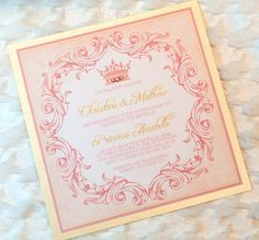 Set of Princess Royal Pink Gold Princess Baby Shower or Birthday Invitations Glittery Party Theme Princess Package girl pink vintage crown on Etsy, $2.82 CAD