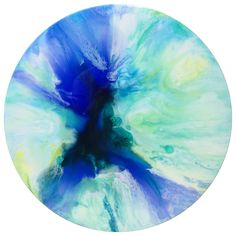Down That Little Lane | Hand painted one of a kind abstract resin artwork on canvas. 50cm round. $180.00