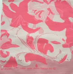 1960's-1970's Pink Lilly by Zuzek Key West Hand Print Fabrics Inc. sorority letters fabric squares by LuLuBunnyHome on Etsy