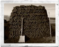 Peat stacked in neat, sturdy herringbone pattern, from Ness, Isle of Lewis {Outer Hebrides, Scotland}; photograph by Angus Mackintosh. In America maybe this style of stacking wood or other items could be employed. Isle Of Harris, Outer Hebrides, Scottish Islands, England And Scotland, British Isles, Great Britain, Glasgow, Wales, Herringbone Pattern