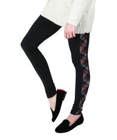 Plush Black Plaid-Accent Leggings | zulily