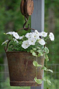 Flower Garden Antique Metal Bucket Hanging Basket - Vintage garden design is a growing trend all around the world. Check out the best decor ideas and make your outdoor space truly gorgeous. Vintage Garden Decor, Vintage Gardening, Organic Gardening, Rustic Garden Decor, Outdoor Garden Decor, Antique Decor, Farmhouse Landscaping, Front Yard Landscaping, Landscaping Ideas
