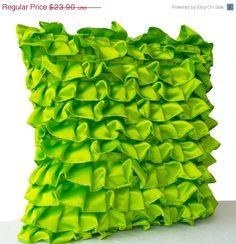 10 OFF Clover Green Pillow Green Satin Ruffle Throw by AmoreBeaute
