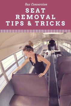 Bus Conversion Seat Removal Tips School Bus Tiny House, Old School Bus, Converted School Bus, Diy School, Bus Remodel, Trailer Remodel, Bus Living, Tiny Living, Rv Bus