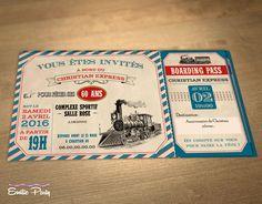 Invitation d'anniversaire thème : billet de train : Autres papeterie par emilie-party