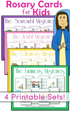 You'll find cards for all 20 Mysteries here, in one easy download. They're designed to print front to back, with a Mystery on one side, along with a child friendly reflection and Bible verses on the back. Artwork provided by our friends at Drawn 2B Creative. Mysteries Included The Joyful Mysteries The Annunciation The Visitation The Nativity The Presentation of Our Lord The Finding of Lord Jesus in the Temple The Luminous Mysteries The Baptism in the Jordan The Wedding at Cana Procl...