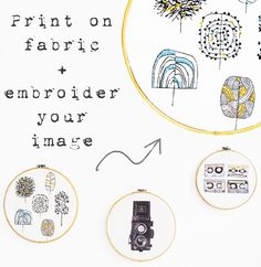 bestickte Illustrationen - illustrations with embroidery. DIY Tutorial in English and German.