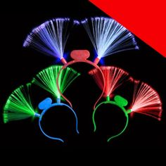 You'll light up the party with our LED fiber optic headband! These headbands feature red, green, and blue LEDs, making them perfect for a variety of costumes and events. Turn the LEDs on or off by flipping the small switch. Batteries are included and installed. Each box includes 12 headbands.