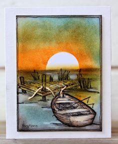"""By Birgit Edblom. Stamp is """"Rowboat and Dock"""" by Serendipity Stamps. Uses stamping, masking, and sponging."""