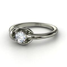 Round Diamond Palladium Ring