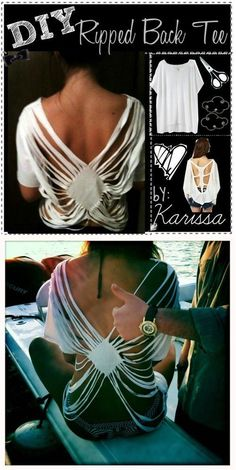 T-Shirt Makeovers - DIY Ripped Back Tee - Awesome Way to Upcycle Tees - Cool No Sew Tshirt Cutting Tutorials, Simple Summer Cutouts, How To Make Halter Tops and T-Shirt Dresses. Easy Tutorials and Ins(Halter Top Diy) Diy Cut Shirts, Umgestaltete Shirts, T Shirt Diy, Sew Tshirt, Diy Tshirt Ideas, Teen Shirts, Ripped Shirts, Ways To Cut Shirts, Diy Old Tshirts