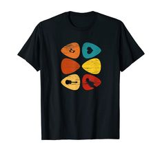 Amazon.com: Guitar Pick Vintage Look Gift For Guitarist, Retro Musician T-Shirt: Clothing