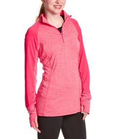 Look at this RBX Heather Bright Blush Zip-Front Pullover - Women on #zulily today!