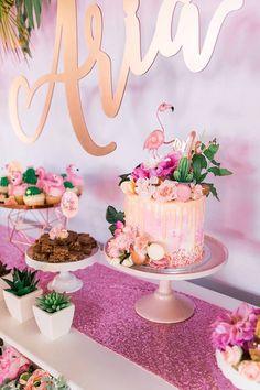 "Flamingo Drip Cake from a ""Let's Flamingle"" Tropical Flamingo Birthday Party Flamingo Party, Flamingo Baby Shower, Flamingo Cake, Flamingo Birthday, Luau Birthday, Summer Birthday, 1st Birthday Parties, Aloha Party, Luau Party"
