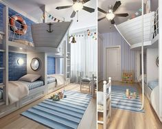 Sailors room for kids with half boat loft