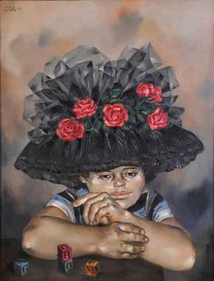 El sombrero de rosas de Enrique Grau | by Bancolombia Hispanic American, American Art, Colombian Art, Art Database, Figurative Art, Fashion Art, Portrait, Inspiration, Dress Code