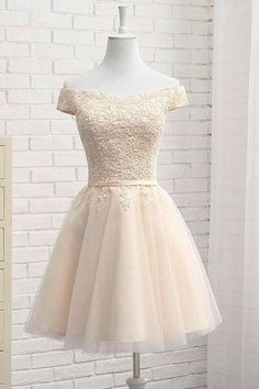 Lovely Tulle Bridesmaid Dresses, Cute Off Shoulder Simple Party Dress, Formal Dress ,homecoming dresses - Vestidos - brautjungfern kleider Tulle Bridesmaid Dress, Tulle Dress, Junior Prom Dresses Short, Champagne Homecoming Dresses, Dress Robes, Dresses For Teens, Formal Dresses, Elegant Dresses, Sexy Dresses