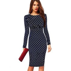 2015 Women Dresses Plus Size with Long Sleeves Polka Dot Sheath Puff Natural Knee-Length Party Dress Vestidos Femininos - FASHION BookFace - Leading Global Online Shopping Site Women's Dresses, Casual Dresses, Pencil Dresses, Vestido Dot, Vintage Pencil Dress, Vestido Casual, Dot Dress, Ideias Fashion, Bodycon Dress