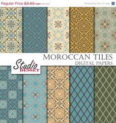 SUR carreaux de vente Maroc papiers Bohème papier par StudioDesset, $1.80