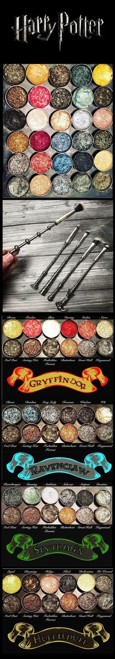 Harry Potter Makeup Brushes and eyeshadow palettes www.glowcultcosmetics.com soooo yeah lol I need this