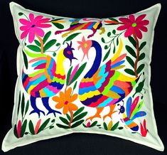 Hand Embroidered Otomi Pillow by Tlalli Designs