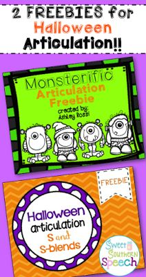 Halloween Articulation Freebie for activities in speech therapy!! Instant download