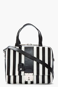 Marc Jacobs Black  amp  White Striped Calf-hair The Domino Tote for women   b8943bcd1661