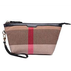 Womens Vintage Plaid Wristlet Clutch Purse Handy Travel Toiletry Bag Cosmetic Pouch Makeup Bag * Want additional info? Click on the image.