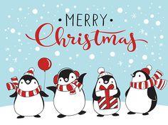 Поздравительная открытка с четырьмя мультфильма пингвины векторные искусства иллюстрации