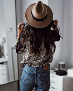 Shirt: tumblr printed leopard print animal print denim jeans blue jeans hat felt hat