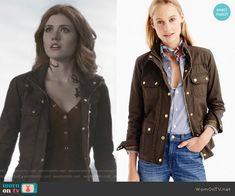 a41e1583d21b Clary s red henley top and brown field jacket on Shadowhunters. Outfit  Details  https