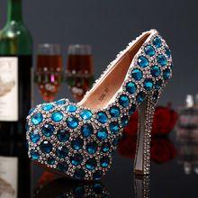 Женщин на высоких каблуках сексуальные туфли на высоком каблуке 2016 мода стиль женщины красочные синий роскошный горный хрусталь смешанные цвета платформы свадебные туфли(China (Mainland))