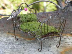 Fairy Garden Bed furniture miniature van TheLittleHedgerow op Etsy, $14.50