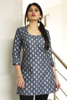 #blue and #silver #kurta, #printed Short Kurti Designs, Churidar Designs, Salwar Pattern, Kurta Patterns, Ethnic Fashion, Indian Fashion, Kurti Styles, Kurta Neck Design, Tunic Designs