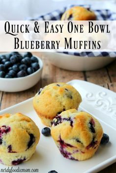 Try out this quick and easy one bowl blueberry muffins recipe for easy breakfast options during the week!