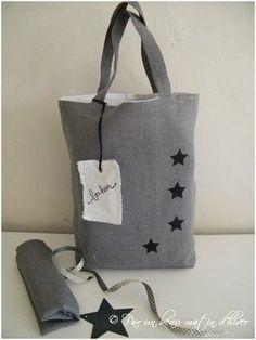 a3fa6545b8 Sac en lin gris Réf. SACLINGRIS - Sac en lin gris - Par un beau matin  d'hiver ... la boutique