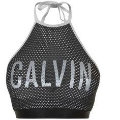 Calvin Klein Bralette Bikini Top ($70) ❤ liked on Polyvore featuring swimwear, bikinis, bikini tops, white, white bikini, mesh bikini, swimsuit tops, bralette swim top and white two piece