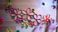 DIY GUIA CON FLORES DE PAPEL - WALL DECOR PAPER FLOWERS