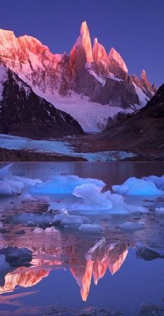   @◈ n i c o l e l e c h e r ◈   Crimson crags of Cerro Torre Mountain in Patagonia, Argenina/Chile