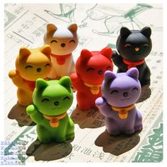 Iwako 60pcs Good Fortune Cat 6 Colours Japanese Erasers in Wholesale Box Novelty Rubbers Erasers Kawaii Stationery Wholesales