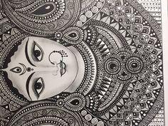 home Art Prints - Hindu Goddess Durga , Home Decor art print Doodle Art Drawing, Zentangle Drawings, Cool Art Drawings, Mandala Drawing, Pencil Art Drawings, Art Drawings Sketches, Drawing Ideas, Mandala Sketch, Doodling Art