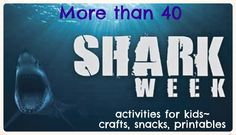 S is for shark.Here are more than 40 shark-themed activities for kids. List includes snacks, crafts, books, printables, activities and more. Shark Activities, Craft Activities For Kids, Learning Activities, Kids Crafts, Shark Week, Shark Fin, Summer School, Summer Fun, Summer 2015