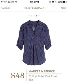 To Stitch Fix stylist from Penny: I like that its blue with polka dots! It also looks like its soft and comfy feeling.
