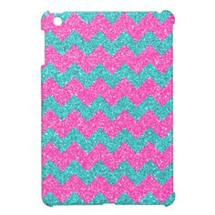 Pink Turquoise Girly ZigZag Glitter Photo Print iPad Mini Cases