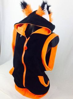 FOX Sleeveless HOODIE jacket cosplay anime furry by pawstar, $75.00