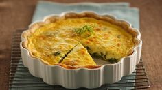 Bacon and Swiss Quiche. Bring the fabulous flavors of France to your dinner table with this delightful quiche baked with crumbled bacon and Swiss cheese. Best Quiche Recipes, Brunch Recipes, My Recipes, Cooking Recipes, Favorite Recipes, Quiche Dish, Cheese Quiche, Frittata, Cheese Pies