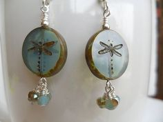 Dragonfly Czech Glass  Blue Dangle Sterling by ThenThereWereThree