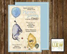 Classic Blue Vintage Winnie the Pooh Birthday by OohLaLlew on Etsy
